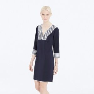 Ann Taylor Navy Embroidered Shirt Dress Medium
